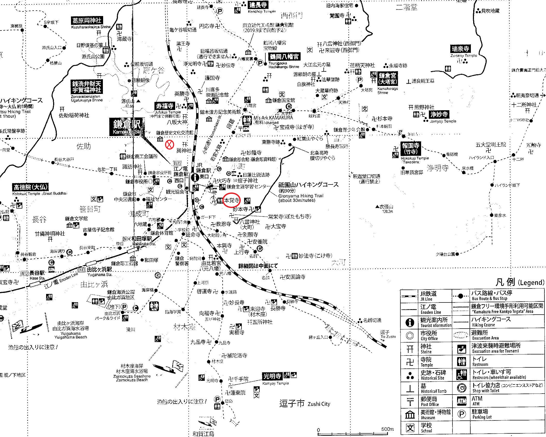 54 Honkakuji map in red